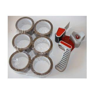 1 Abroller + 6 Rollen Packband Klebeband Handabroller Paketband Paketklebeband