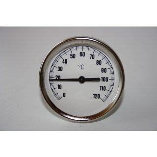 "Bimetall Thermometer Zeigerthermometer 0°C-120°C, inkl. Tauchhülse 1/2"" Ø 63 mm"