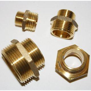 Messing Fitting Gewindefitting Doppelnippel reduziert Reduziernippel AG x AG