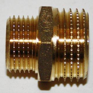 """Messing Fitting Gewindefitting Doppelnippel reduziert  3/8"""" x 1/2"""""""