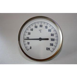 "Bimetall Thermometer Zeigerthermometer 0°C-120°C, inkl. Tauchhülse 1/2"" Ø 80 mm"