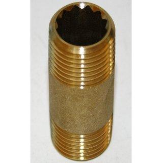 "Messing Rohrnippel Doppelnippel Fitting Gewindefitting   1/2"" x 50mm"