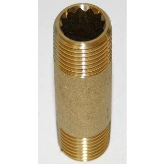 "Messing Rohrnippel Doppelnippel Fitting Gewindefitting   1/2"" x 60mm"