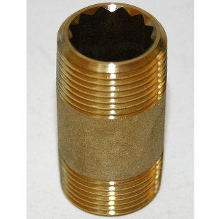 "Messing Rohrnippel Doppelnippel Fitting Gewindefitting  3/4""  Zoll 3/4"" x 50mm"