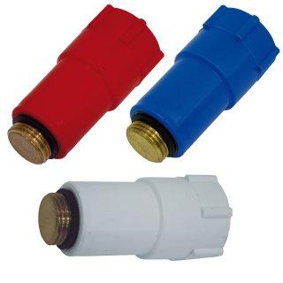 """Baustopfen 1/2"""" Blindstopfen Abdrückstopfen rot blau weiss 1, 5, 10, 20 Stück"""