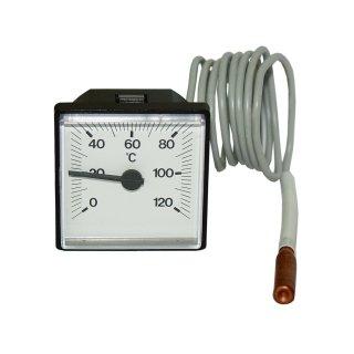 Fernthermometer, Thermometer quadratisch, Einbauthermometer, 0 - 120 °C, analog