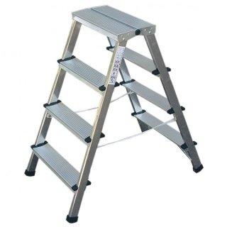 Brennenstuhl Alu Doppelstufenleiter Aluminium Handwerkerqualität 2 x 3 Stufen